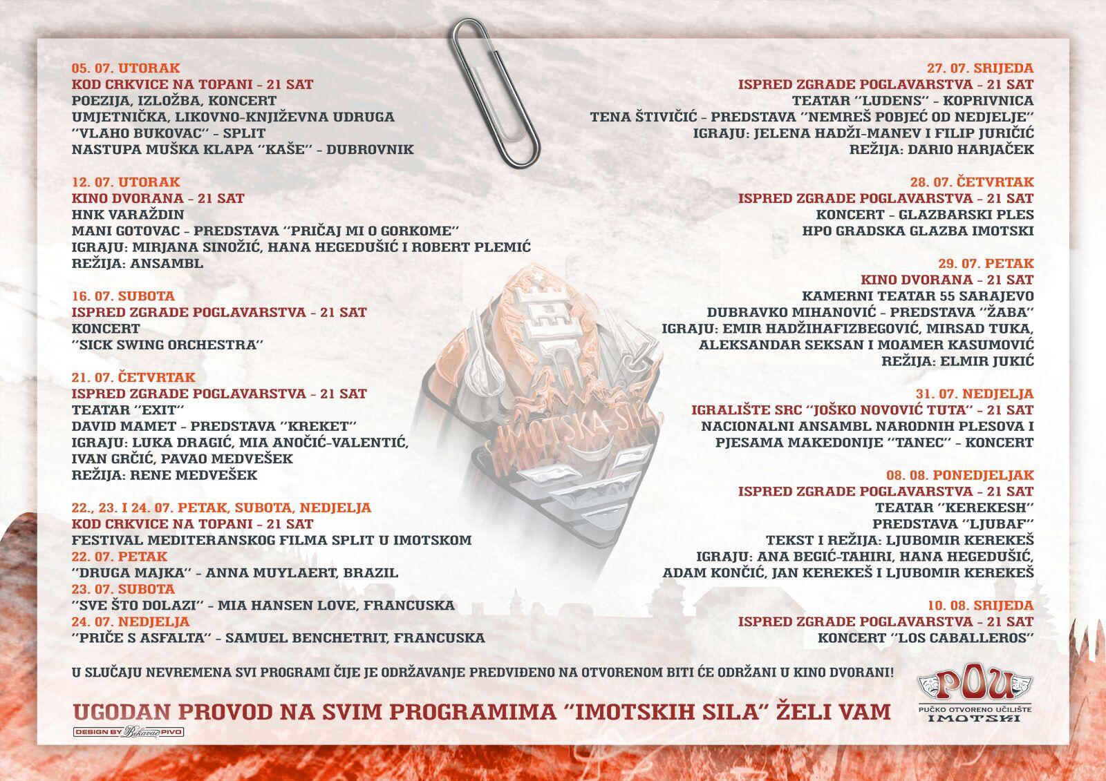 Imotska Sila - program 2016